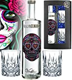 Vodka Geschenkset LOVE Skull Wodka inkl. 2 Tumbler-Gläsern über 1000 Schmuck-Kristalle  Luxus Designer Vodka Iordanov in der Chrome-Geschenkbox Luxus-Geschenk für Frauen