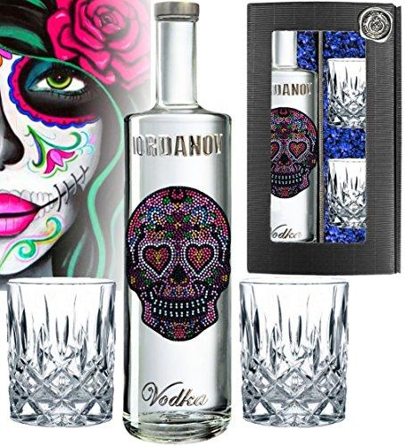 Vodka Geschenkset LOVE Skull Wodka|inkl. 2 Tumbler-Gläsern über 1000 Schmuck-Kristalle |Luxus Designer Vodka Iordanov in der Chrome-Geschenkbox Luxus-Geschenk für Frauen