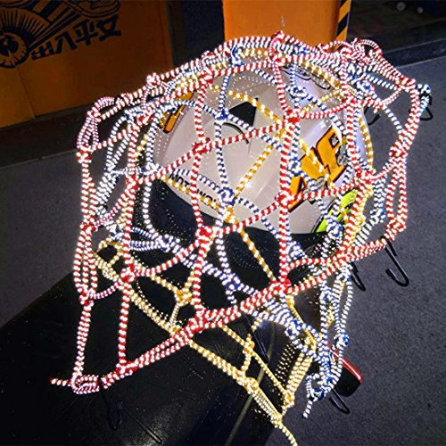 FEZZ Helm Netz Reflektierende Gepäckträger Mesh Gepäcknetz Sicherungsnetz Spannnetz Transportnetz Öltank Cargo Net für Motorrad Moped Quad Bike mit 6 Befestigungshaken Schwarz (Helm Net)
