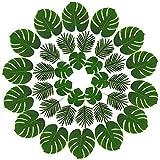 Hicarer 36 Stück 2 Arten Künstliche Palmen Blätter Faux Palme Blatt Fake Monstera Tropische Blätter für Dekoration, Grün