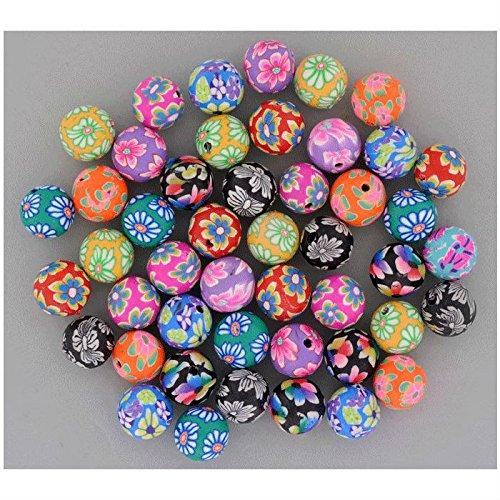 50 Stk Polymer Perlen Mix 10mm - Motiv Blumen Millefiori - sortiert in 10 Farben - Polymer-perlen