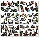 plot4u 46-teiliges Bagger Trecker Traktor Baumaschinen Set Wandtattoo Kran LKW Wandsticker in 3 Größen (6x16x26cm Mehrfarbig)