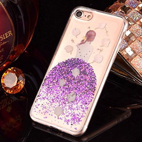 GR Weiche TPU Epoxy Dripping gepresste echte getrocknete fallende Blumen Glitter Powder Girl Schutzhülle Back Cover für iPhone 6 Plus & 6s Plus ( Color : Silver ) Purple