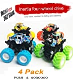 Brand Conquer 4 Pack 4WD Monster Truck Cars,Push and Go Toy Trucks Friction Powered Cars 4 Wheel Drive Vehicles for Toddlers Children Boys Girls Kids Gift-4PCS