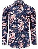 JEETOO Herren Langarm Knopfleiste Paisleys Baumwolle Freizeithemd Hawaiian Style Shirts Drucken Urlaub Slim Fit Männer Breiter Kragen Casual in Den Größen S-3XL (Large, Marineblau und Rosa)