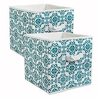 DII Fabric Storage Bins for Nursery, Offices, Home Organization, Containers Are Made To Fit Standard Cube Organizers (11x11x11) Scroll Teal - Set of 2