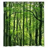 Violetpos Schöner frischer grüner Wald Duschvorhang Badezimmer Dekorative 90 x 180 cm