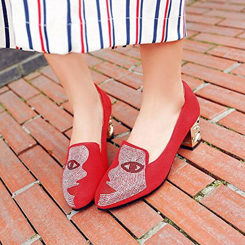 Mee Shoes Damen chunky heels Strass Nubukleder Pumps Rot