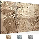 Bilder Ägypten Pharao Wandbild 120 x 80 cm - 3 Teilig Vlies - Leinwand Bild XXL Format Wandbilder Wohnzimmer Wohnung Deko Kunstdrucke Braun -100% MADE IN GERMANY - Fertig zum Aufhängen 302931a