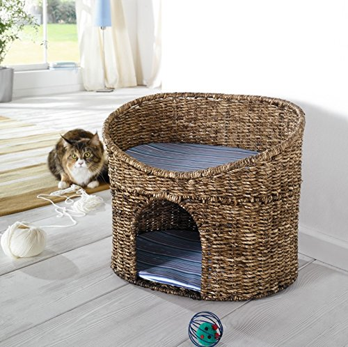 Katzenhöhle mit Kissen – Korb geeignet für kleine Katzen - 2