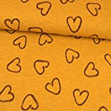 Jersey Stoff meliert Herzen senfgelb Damenstoff - Preis