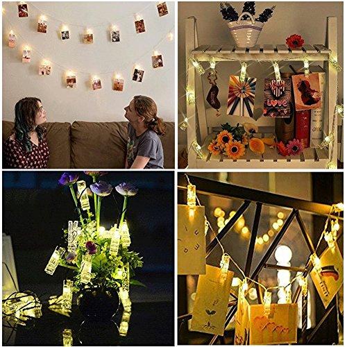 Flat Light Deck (7.2FT LED-Foto-Klipp-Schnur-Lichter, 2 Strings batteriebetrieben für hängende Fotos, Karten, Memos und Artwork (warmes Weiß))