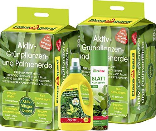 floragard-grunpflanzen-set-2-x-20-l-aktiv-grunpflanzen-und-palmenerde-flussigdunger-075-l-blattglanz