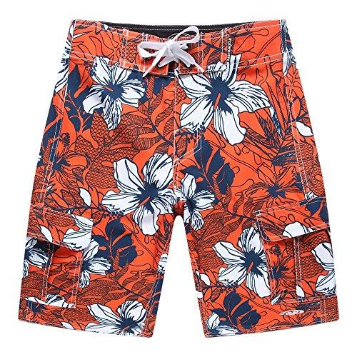 Hombres-Ropa-de-playa-Pantalones-cortos-con-bolsillo-en-naranja-con-hibisco-azul-40