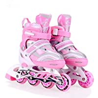 Sky Tech® Size Adjustable Inline Roller Skates - All PU Wheels with Aluminium-Alloy Front Wheel with LED Lights - Med Size for Age Group 6-12 Yrs (Length 21.5 to 24.5 cm)