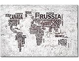 """WandbilderXXL® Gedrucktes Leinwandbild  """"Weltkarte Nr.22"""" 120x80cm - in 6 verschiedenen Größen. Fertig gespannt auf Holzkeilrahmen. Günstige Leinwanddrucke für Kinderzimmer Schlafzimmer."""