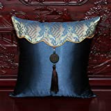 Silk Tassels Sofa pillow Classical Chinese cushion for leaning on of the office bed cars cushion for leaning on60*60cm(core)Deep blue sea water