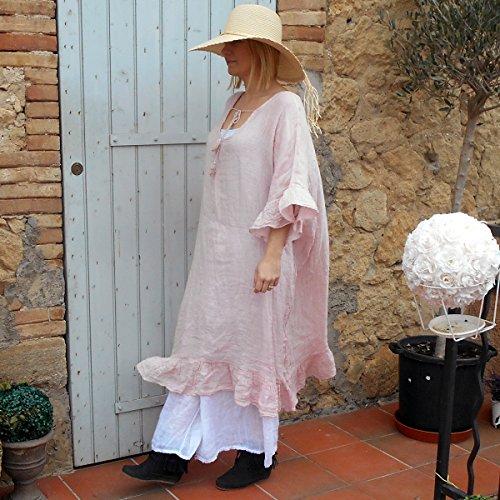 Coklico - Robe maxi grande taille gaze de lin - 46 48 50 52 - Cavalaire - vendue sans le jupon Rose poudre