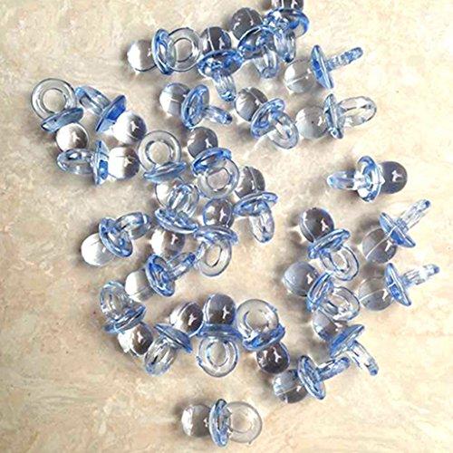 Mini-Schnuller, Acryl, Partyzubehör für Babypartys, Tischdeko, 50 Stück, acryl, blau, M (Blau Acryl Schnuller)