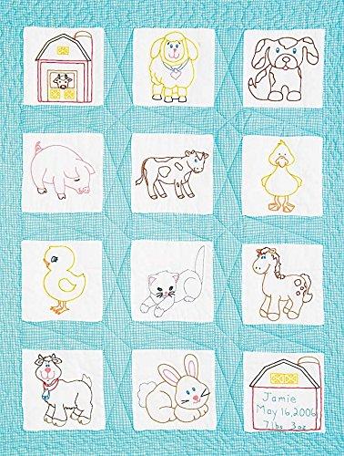 Jack Dempsey 9x 9Zoll Farm Tiere Prägung weiß Kinderzimmer Quilt Blocks, 12Stück (Quilt Tier Blocks)