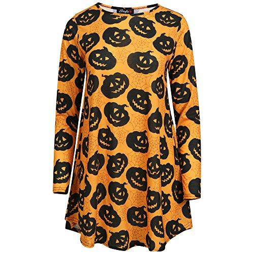 Get The Trend - Robe - Patineuse - Manches Longues - Femme Large Black & Orange Pumpkin Print