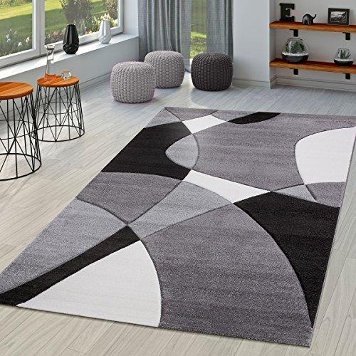 Tappeto Moderno Per Soggiorno Astratto Taglio Sagomato In Nero Grigio Bianco, Größe:160x230 cm
