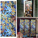 45x100cm Magnolia Privacy Window Film Decorative Stained Glass Window Film Stained Glass Film Sticker Home Decor