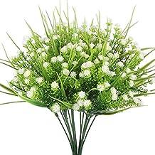 Pianta artificiale in plastica, eucalipto, 7rami, per matrimonio e decorazioni di verde, White, 4pcs