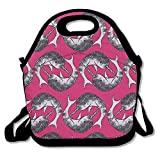 Icndpshorts Red Narwhal Circles Lunch Tote Bag Bags Awesome Lunch Handbag Lunchbox Box for School Work Outdoor