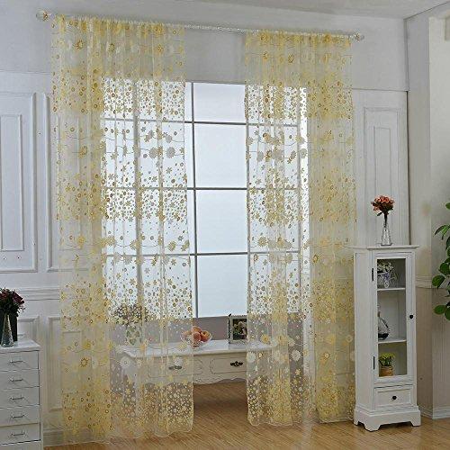 Aolvo Gardinen für Wohnzimmer, Vintage Fenster Vorhang Blumenmuster Wohnzimmer Schlafzimmer Fenster Panel Vorhänge (Gardinen, 63 Zoll Länge)