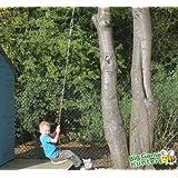 Wooden Monkey Tree Swing - Garden Monkey Swing Seat with Long Tree Rope Attachments