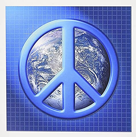 3dRose 8 x 8 x 0.25 Inches Greeting Cards, Set of 12, Peace on Earth Large Blue Peace Sign Over the Planet Earth (gc_18146_2)