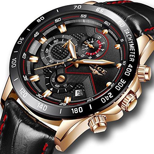 Montres Hommes,LIGE Chronographe Imperméable Sport Militaire Quartz Analogique Montre Bracelet En...