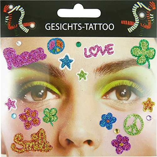 Gesichts Tattoo Face Art Halloween Karneval Flower Power (Make Up Für Ein Hippie Kostüm)