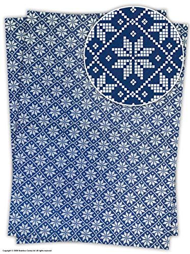 Rosehip Pretty Blau 'Schneeflocke' Design Doppelseitig Weihnachten Geschenkpapier/Papier, Blau, 2 Bögen -