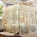 * XMM -pastoral vent trois ouvrir le côté de la porte du plancher de la moustiquaire filet en acier inoxydable stent moustiquaire grand espace cryptage anti-moustiques trois en fils (150 * 200-1.5 m lit, papillon couleur danse-crème)