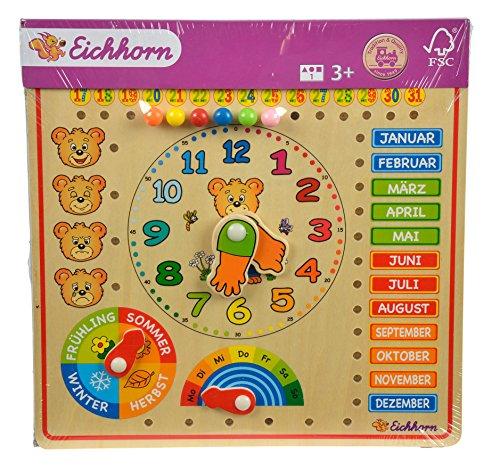 Eichhorn 100005457 - Steckpuzzle, Kalenderuhr, bunt