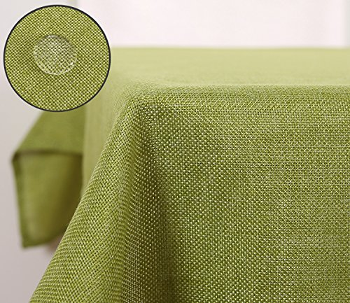 Deconovo Rectangle Fabric Table Cloth Faux Linen Table Cover Waterproof Large Table Cloth for Garden Table 137x200CM Green