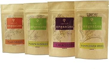 SorichOrganics Pumpkin, Sunflower, Chia and Flax Seeds - 800 Gm (4 x 200 Gm)