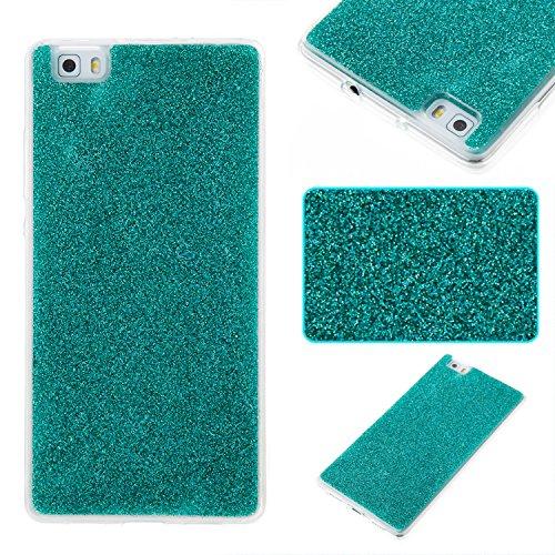 Pour Huawei P8 Lite Case Cover, Ecoway TPU Soft Silicone Série en poudre instantanée Housse en silicone Housse de protection Housse pour téléphone portable pour Huawei P8 Lite - Bleu-vert
