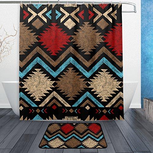 jstel Vintage arte africano 3piezas Set de baño, se puede lavar a máquina. Para uso diario, incluye 60x 72inch impermeable cortina de ducha, 12ganchos de ducha y 1alfombrilla de baño antideslizante alfombra–juego de 3