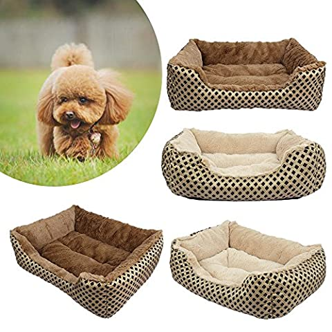 Pet Bed, SymbolLife Soft Washable Dog Cat Pet Warm Basket Bed Cushion with Fleece Lining Rectangle Pet Bed All Season All Weather Pet Bed Three Sizes to Fit Most Pets Small Gold