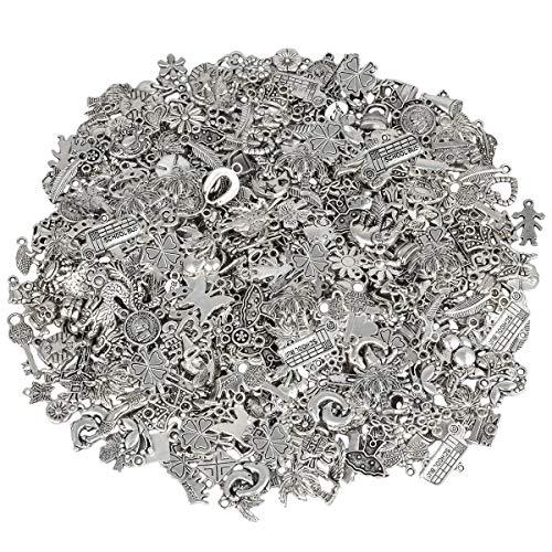 KYEYGWO 230 Gramm Verschiedene Legierung Perlen Spacer, Tibetischen Stil Europäischen Perlen für Schmuck DIY Machen Armbänder ()