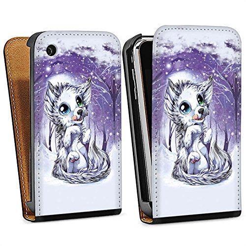 Apple iPhone 4 Housse Étui Silicone Coque Protection Loup Dessin Forêt Sac Downflip noir