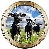 Sticker Trompe l'oeil Hublot Vaches dans le Pré - W1116 (30x30cm)
