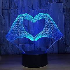 Idea Regalo - 3D cuore illusione lampada luce notturna 7 cambia colore touch interruttore decorazione da tavolo lampade regalo di Natale con base in ABS e acrilico piatto cavo USB e giocattolo per fan basket Lover Lamp