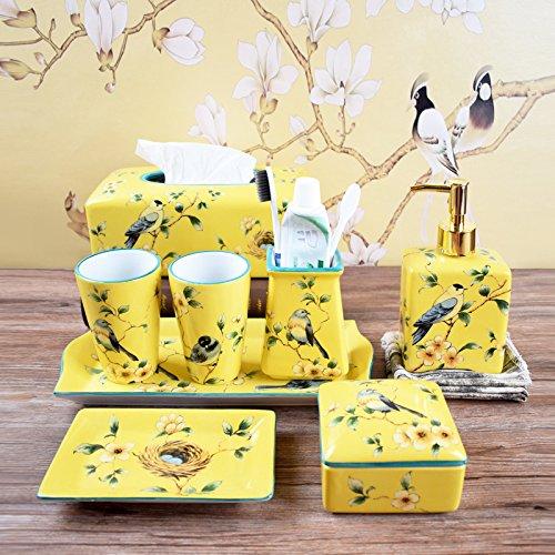 HJKY bathroom accessories set Badezimmer Waschtisch Keramik cup kit Badewanne Kit mit 5 Badezimmer Spülen cup Hochzeit Geschenk, 8-teilig