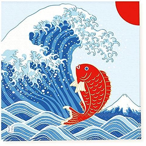 Traditionelle japanische Muster Serie Papiertuch, Serviette, 10er-Pack - Japan Import - Große Welle von Kanagawa Mount Fuji Ukiyo-e mit Karpfen PNK-041Black & Weiße Maneki Neko Glückliche Katzen PNK-045