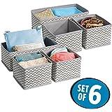 mDesign - Chevron - Organizadores de tela para almacenamiento en el cajón del armario/la cómoda; para ropa interior, soquetes, brasier, corpiño, calzas, pantimedias - juego de 3 - Gris topo/natural