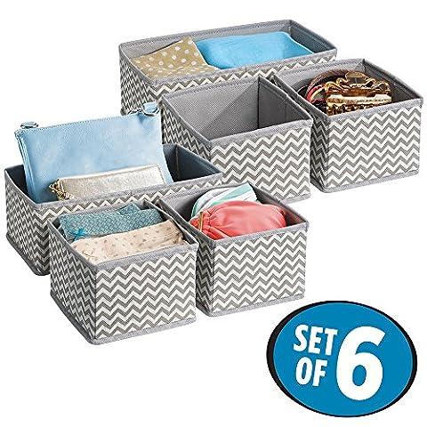 mDesign boîte de rangement tissu (lot de 6) – boite rangement tiroir idéale – utilisation flexible – boîte tiroir – en polypropylène – taupe/nature